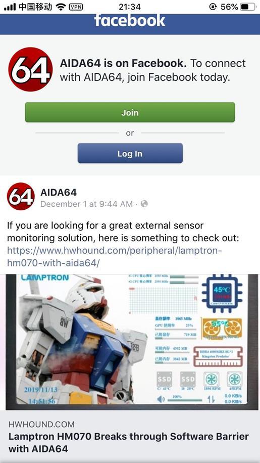 说明: aida64 facebook
